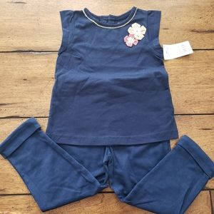 NWT Flower Navy Shirt and Navy Pants